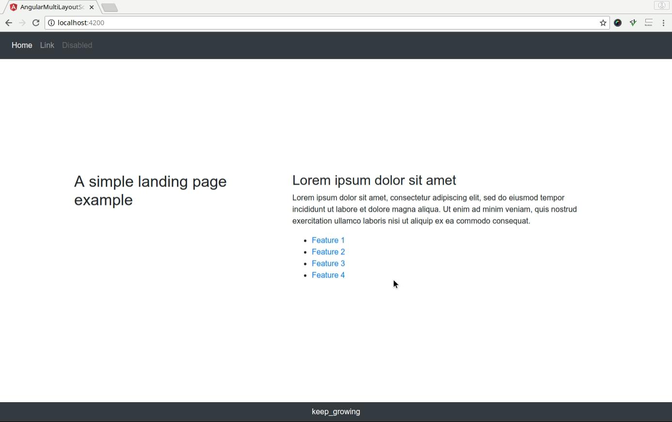The landing page screenshot