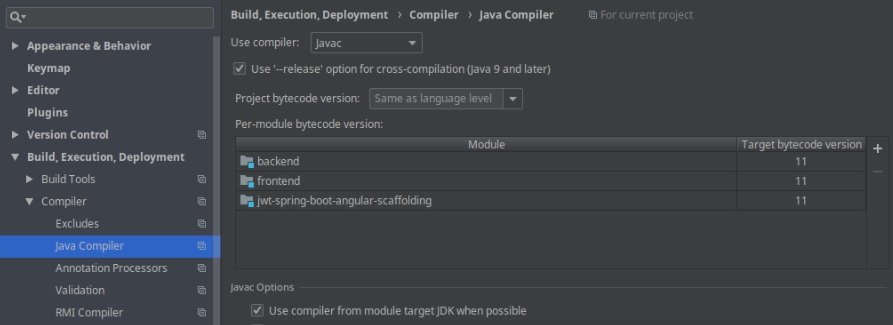 Settings - Java Compiler screenshot