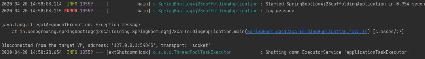 exception log screenshot