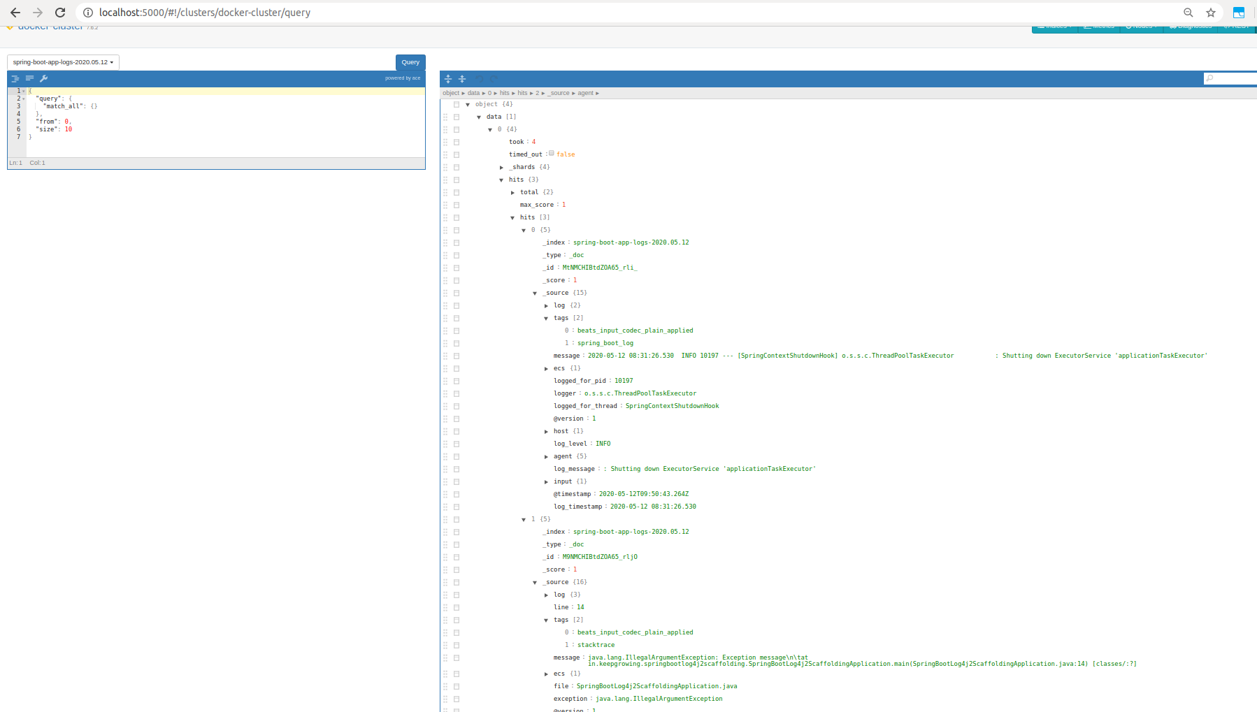 see logs processed with Elastic Stack in Elastihq