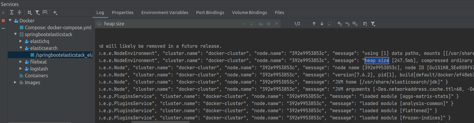 browsing logs with docker plugin in inteliJ screenshot