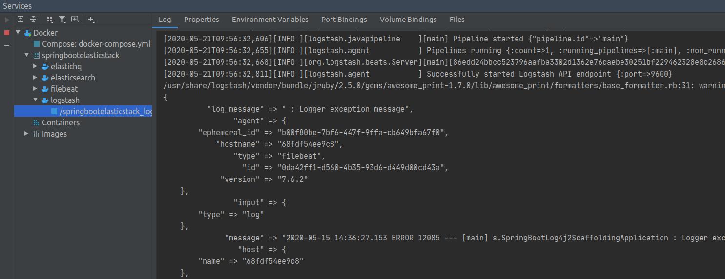 logstash output in console screenshot