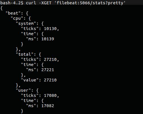 test filebeat connection screenshot