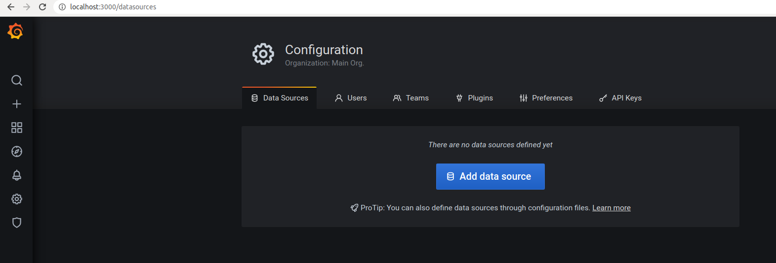 We have to add the data source to be able to monitor an app with Grafana