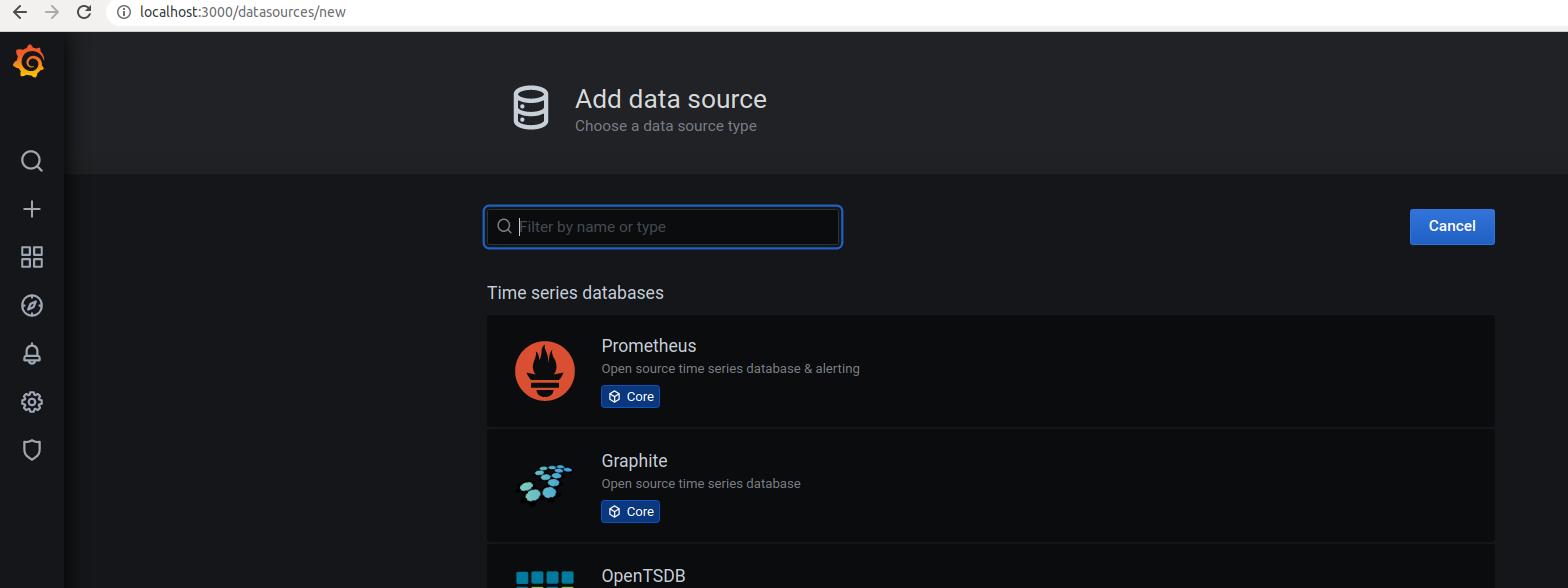 Choose Prometheus as the data source