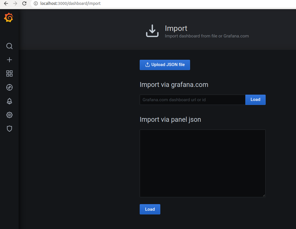 To use a predefined dashboard we have to import it